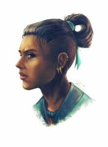 A painting of Beau from the side. She is a dark skinned human with an undercut, the long part of which is tied up in a bun with a blue ribbon. She has lots of gold earrings and ear cuffs, blue eyes that are looking down and to the side, and is wearing a blue vest and a necklace of blue stones. Her mouth is slightly open and frowning.