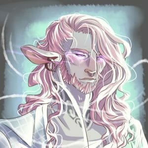A cool toned drawing of Caduceus Clay. He is a grey skinned firbolg with long soft pink hair that is short on one side, and falling into his face a bit. One of his large floppy ears is visible, and there's a spiral earring in it. He has a short pink beard, and is wearing an embroidered shirt with a high collar, and a very light teal robe with a white grid on it. His eyes are half closed and glowing purple, and he is blushing pink. There are white swirls all around him and a blue light behind him in a square, on a grey background.