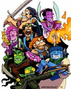 A drawing of the Mighty Nein. Nott, a goblin with wide yellow eyes, is at the bottom, yelling with a crossbow drawn towards the right. Behind her are Fjord and Jester. Fjord is a green half orc with short black hair with a white streak. He is grimacing with a hand raised, holding a barnacle-encrusted sword with a yellow eye on the hilt. Jester is a blue tiefling with short blue hair and curly horns. She is grinning widely and has sharp white teeth, and is holding a giant pink lollipop with spikes on the side. She is wearing a white and blue dress. Behind her is Caleb, a white human with ginger hair and a short beard. He has a hand raised and is shooting fire off to the right with an angry expression on his face. Above him are Beau and Caduceus. Caduceus is a light pink firbolg with long pink hair with one side shaved, holding a tall wooden staff with a gemstone on top, and has a bunch of bees around his other hand, with a serene expression on his face. Beau is a dark skinned human with green goggles on her forehead, and is screaming with a fist raised. Her arm is wrapped in blue bandages, and she has a blue vest and crop top on. Lastly, above them are Yasha and Molly. Yasha is a light skinned woman with black hair that fades to white, and has a large sword raised above her head. Molly is a purple tiefling with horns that curve behind his head. He has rainbow peacock feathers tattooed on his neck, and two matching scimitars raised on either side of his head as he grins.