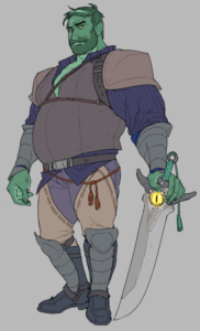A drawing of Fjord on a grey background. Fjord is a fat half orc with green skin, short hair and a beard. He is wearing leather armor over a striped blue shirt. His shirt is open, exposing his chest. He has a red rope tied around his waist, and is carrying a falchion at his side. On the hilt of the sword is a yellow eye that looks out towards us. The piece consists of large blocks of muted colours. The lines outlining the colours are thin and delicate