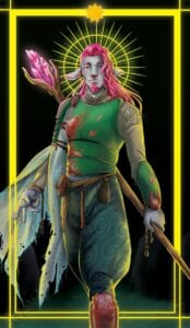 A digital rendering of Caduceus, a grey-skinned firbolg with bright pink hair and goatee. His ears droop down from his face, which has a soft, almost sad smile on it. He poses with a large wooden staff held behind his back and one foot forward. The staff has a bright pink crystal extending off the top of it that sits next to his head. He is wearing a green armoured chest piece that has pink moss growing on it. He also wears green pants and a tan silk shirt, both with swirl detailing. Draped off his shoulder is a torn blue cloth with holes and a checker pattern. The image is surrounded in a yellow border that he steps over, with a yellow and green circular sun shape behind his head. The border casts a yellow light over him.