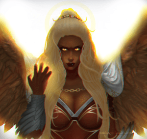 A drawing of Reani with a grim, intractable expression. She has one hand raised, palm facing inward, as gold energy mists up from between her curled, tensed fingers, and she stares straight ahead with eyes that glow a similar color. A small white cape folds loose over her large brown wings, which are fully extended behind her and cut off by either edge of the frame. Bright white light shines behind her, casting a golden glow on the tops of her wings, the edges of her white-blond hair, and her tiny gold freckles.