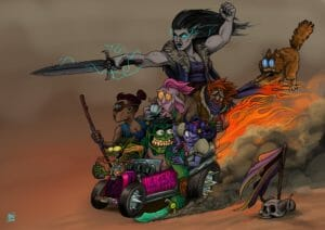 "A drawing of the Mighty Nein piled into a race car. The car has spikes on the wheels and is purple with ""Mercer Mobile"" written in bright pink capital letters alongside a decal of a d20. The front of the car has a flaming skull on it. Nott is in the front, with her tongue waving out behind her and her flask spilling alcohol. Behind her Beau is looking out to the left sternly, goggles on her face. Next to her Fjord drags his sword alongside the car, creating a bunch of dust and smoke, with a wild expression. Jester is in the midst of tattooing something on his shoulder, next to Caduceus who is nervously attempting to drink a cup of tea. Next to him, Caleb is holding a closed book, hands and the lower half of his body surrounded by flame that encompasses the back half of the car and flares out behind it. Frumpkin is hanging onto his scarf and trailing behind the car. Yasha stands in the back with her sword extended forward, flexing. Her sword, hand, and eyes are all emitting bolts of lightning. On the ground next to the car is a stick with a purple coat on it, above a horned skull."
