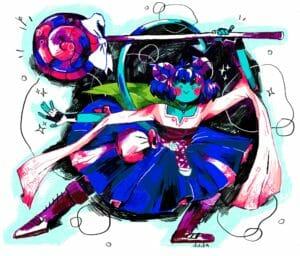 A bright-colored drawing of Jester in a dynamic pose, facing forward and lunging to the right, with her skirt flared, her left foot pointed, and her left arm stretched out daintily as sparkles emanate from her fingers. Her right arm is bent at the elbow as she holds her massive blue-and-pink swirl lollipop above her head. Her tail curves up behind her, the spade-shaped tip pointing at one of her purple horns. She's got a mischievous smile, her mouth a pointed V, her eyes pinpricks, her eyebrows bold and narrowed, and there are big pink circles on her cheeks, with little freckles. She's surrounded by colorless bubbles and bright sparkles, some of which overlap on the black hatch-mark splotch behind her, which is outlined in light blue on the white background.