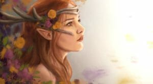 Digital drawing of a side profile of Keyleth's face. The image is on a white background, with paint splatters made to look like flowers beside her. She is a fair skinned half-elf with long red hair. She is wearing a white headband across her forehead with antlers curling back from her face. Flowers the same colour as the ones beside her are tucked behind the headband. The artist uses soft colours and pale lines giving the piece a dream-like quality.