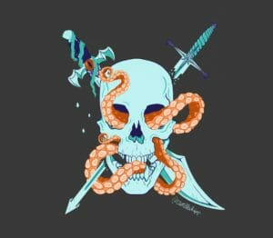Digital image of a light blue skull and swords on a grey background. In the centre of the image sits a light blue skull, with an orange tentacle worming its way through the eyeholes and up around the jawbone full of jagged teeth. Around the skull, blue swords are placed in a crossbone fashion. The one on the left is Fjord's falchion. The hilt of the sword has a clam at its tip, is wrapped in seaweed and has an orange eye in the centre of it. Water droplets fall down from the sword. The sword on the right is the Star Razor. The hilt and blade are separated, each shattered at their end. The tip of the hilt has a crown, and a nautical star sits in the centre.