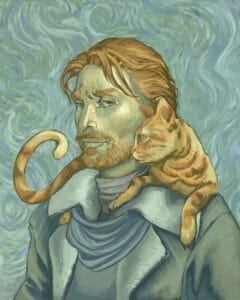 A painting of Caleb and Frumpkin, stylized like Van Gogh's self portrait with muted colors and textured brushstrokes. Caleb is a light skinned human man with shaggy red hair and beard. He is wearing a brown coat with a fleece collar, a loosely tied blue scarf and a brown turtleneck. Frumpkin, an orange cat, is resting on Caleb's shoulders, his tail curled upward as he stares off to the left. Caleb, in half profile, has his eyes turned toward the viewer and has a dour look on his face.