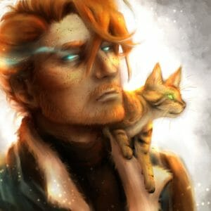 Digital bust of Caleb with Frumpkin on his shoulder. The background is white, fading to grey at the edges. Caleb is a pale man with short orange hair and a beard. He has brown freckles dotting his face. His eyes are a magic light-blue with a magic light beam radiating from one eye. He wears a brown shirt and fur lined jacket. Slumped on his shoulder is Frumpkin, an orange bengal cat with faint black stripes. He looks away from Caleb into the distance. His eyes shine a bright green.