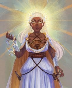 Digital painting of Reani with a soft expression on her face, one warm brown hand held aloft, with a blue-and-gold flower grown held over her palm, dangling down. Her other hand rests on the hilt of the sword at her hip, which hangs from a strap attached to the belt high on her waist. A matching strap crosses over it, to her other hip, where a holstered wand hangs. The straps cause the long white skirt of her dress to bunch up a little on either side, creating little poofy spots that interrupt the smooth flow of the fabric down past her knees. The dress has a low scoop neck, with a set of brass semicircles covering her chest and a few brown strings crossing over her collarbones behind her neck, and a matching white cape with a yellow lining. A gold circle frames her head like a halo, crossed with gold lines like sunrays. Behind this, there is a soft yellow-white glow, which spreads into a gold haze over the blue background, and is crossed with darker gold-orange sunbeams.
