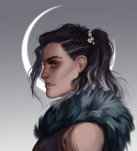 A digital painting of Yasha in profile facing left. She's glancing at the viewer out of the corner of her pale eye as a few locks of gray hair spill in front of her face. There's a thin scar through her eyebrow, and little white flowers along the band of her ombre ponytail, which falls thick and wavy over her shoulder, which is covered in dark furs. A thin crescent moon rests behind her head, half-framing her face, bright on the hazy gray background, which fades from dark gray to light a little like Yasha's hair.