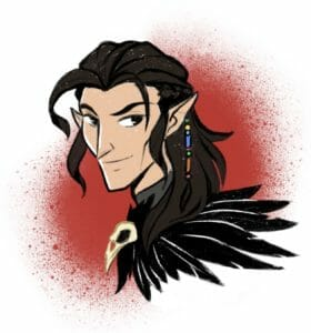 a digital portrait of Vax, a half elven man with pale skin, long dark brown hair, and a black feathered cloak with a raven skull clasp.  He is drawn at a three quarter view, and he is smiling. He is drawn in front of a red circle that looks like it has been spray painted onto a white background.
