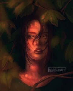 A digital bust painting of Beau, half-hidden amid wide-lobed green leaves and thin brown branches. She's pale-skinned and glancing off to one side, her dark brown hair spilling down either side of her face and a single lock of it falling down over her nose. She's half in shadow, the other half of her face dappled with sunspots.