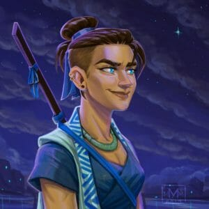Digital bust of Beauregard looking off to the right smiling. The background is a cloudy blue night sky with ocean and a city underneath it. She is a woman with light brown skin and dark brown buzz cut hair tied into a bun with a blue ribbon. Her ear has four piercings in it, two small hoops and two studs. She wears a thick jade necklace around her neck. Light reflects off her blue eyes causing them to sparkle. She has a staff with a blue ribbon on it strapped to her back, held in place by a blue ribbon across her chest. She wears a light blue sleeveless robe with a dark blue triangle patterned collar. She wears a dark blue criss-crossed shirt underneath.