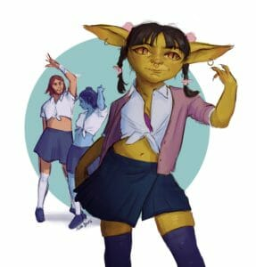 Digital drawing of Nott, Caleb and Jester in school-girl outfits as they stand in dancing poses on a white background with a blue circle behind them. Nott, an olive green goblin, stands in the front, wearing a white shirt tied up to expose her belly button. She is wearing a long pink blazer, blue short skirt and knee high leggings. Her short black hair is braided into pigtails tied with pink ribbons, and pink pom-pom hair bands behind her ears hold the braids in place. One of her hands is up by her ear, fingers curling towards her face, the other is down by her side. Caleb and Jester stand less detailed behind her, both wearing a tied up shirt, mini skirt and knee high socks. They pose with their arms above their head in a dance pose.