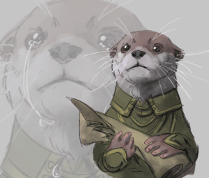 A drawing of an otter in a fancy green outfit holding a scroll and quill. Behind it is a close up of its face with tears in the eyes.