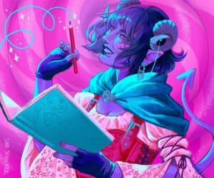A painting of Jester. She has bluish purple skin and dark blue hair. Her horns are short and curled, and capped with silver jewelry. She is holding a blue notebook and a pencil with a swirl of blue coming off of it, and is smiling widely on a bright pink background. She is wearing a light pink dress with a leather corset. There are small flowers embroidered on her sleeves. She has a pointed tail waving behind her.