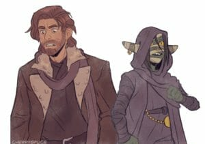 A drawing of Caleb and Nott. They both look concerned, Caleb looking down to the left and Nott looking up to the right. Caleb is a medium skinned human in a ratty brown coat and blue scarf and dark shirt. He has stubble and shoulder length auburn hair tucked behind his ears. Nott is a goblin with long ears wrapped in bandages, one with a gold earring. She wears a dark cloak with the hood up and a dark shirt. She has a belt with a gold chained pocket watch on it. Her eyes are yellow and cat-like and she has a gold septum piercing.