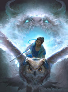 A digital drawing of Beauregard sitting on the back of a large owl flying away from the open mouth of a white dragon. Beau is a dark skinned woman with her hair in a bun, and she's wearing blue clothing. She stares outward as she holds onto a staff with one hand, the other holding onto the owl. The owl glides forward with its wings spread open. The feathers on its face have gold detailing and a gold half-halo rests on top of its head. Behind them both is bright blue light radiating from the wide open toothy mouth of the dragon. Its eyes shine a bright blue, two large horns protrude from its face. The edges of its face fade off into the background like smoke.