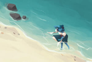 A painting of Jester, a blue tiefling in a white and blue dress, standing in the ocean waves on a beach. The angle of the picture is looking down from above. Jester is smiling, looking inland with a hand shielding her eyes. There are three rocks in the water in the upper left, and some stones and shells in the sand.