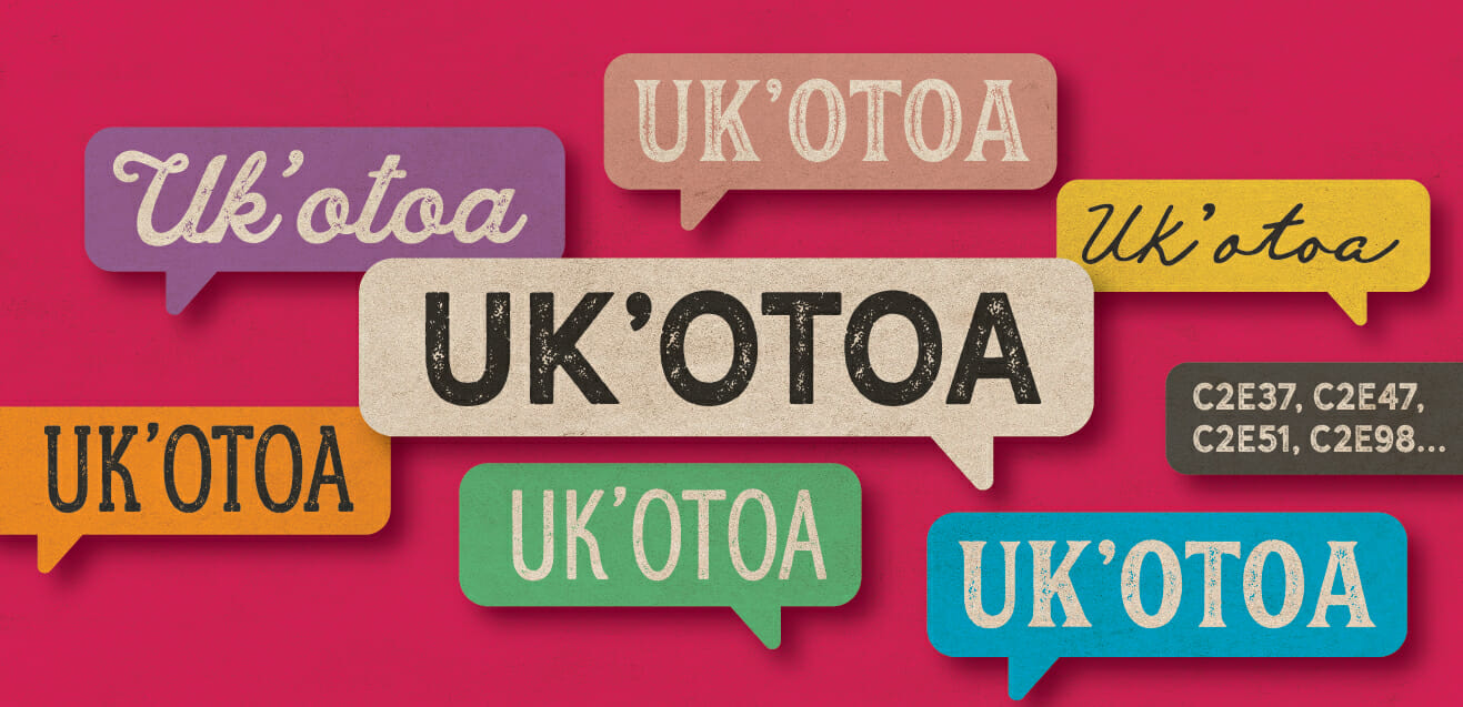 """Uk'otoa, Uk''otoa, Uk'otoa"" - repeated in floating bubbles in varying fonts. C2E37, C2E37, C2E51, C2E98"